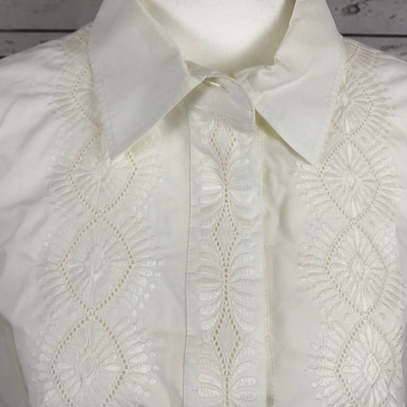 Chloe White Embroidered Button Down